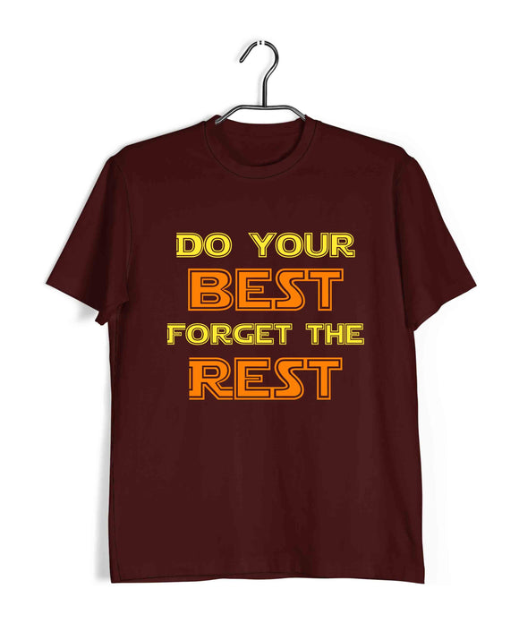 Maroon  Fitness Fitness DO YOUR BEST FORGET THE REST Custom Printed Graphic Design T-Shirt for Men