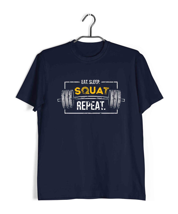 Navy Blue  Fitness Fitness EAT SLEEP SQUAT REPEAT Custom Printed Graphic Design T-Shirt for Men