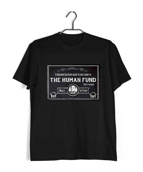 Black  TV Series Seinfeld A DONATION HAS BEEN MADE TO THE HUMAN FUND. MONEY FOR PEOPLE Custom Printed Graphic Design T-Shirt for Men