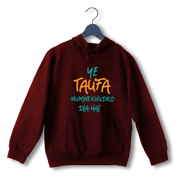 Movies T-Shirts of The Year Bollywood ye taufa humne khud ko dia hai UNISEX HOODIE Sweatshirts - Aaramkhor