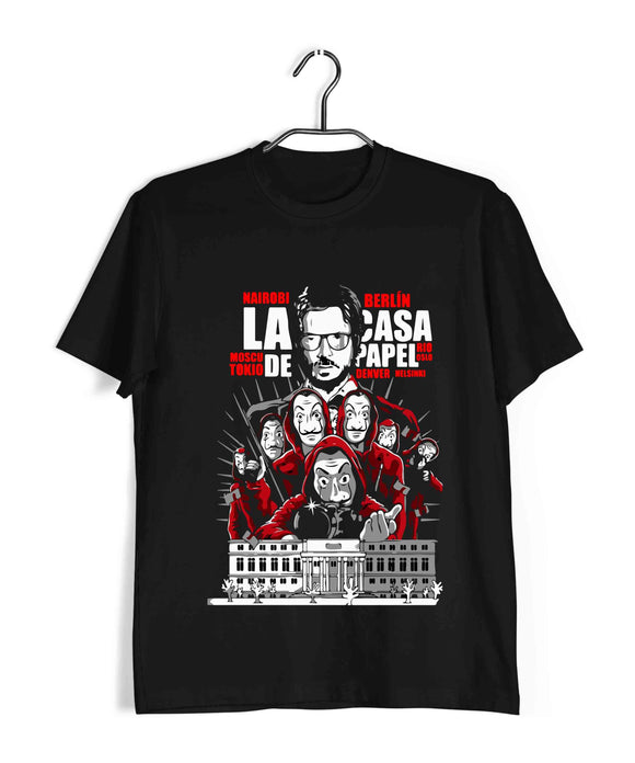 Black  TV Series Money Heist POSTER Custom Printed Graphic Design T-Shirt for Men