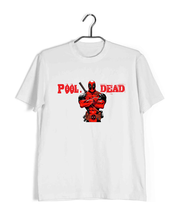 White  Comics Movies Deadpool POOL. DEAD Custom Printed Graphic Design T-Shirt for Men