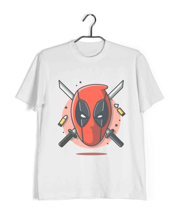 White  Comics Movies Deadpool DEADPOOL SWORD WITH BULLET Custom Printed Graphic Design T-Shirt for Men