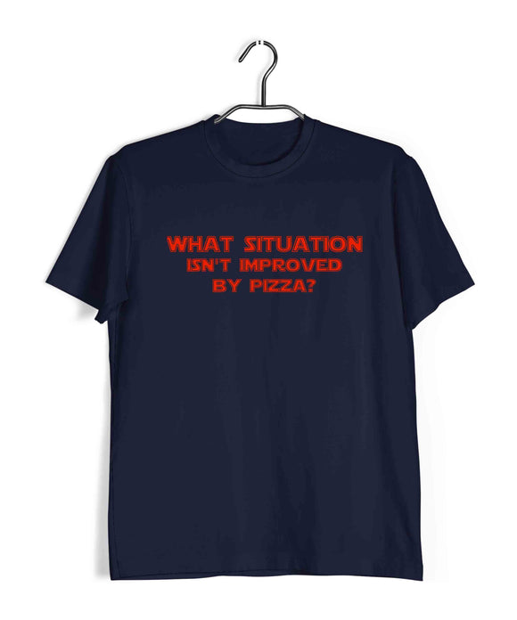 Navy Blue  Comics Movies Deadpool WHAT SITUATION ISN'T IMPROVED BY PIZZA? Custom Printed Graphic Design T-Shirt for Men