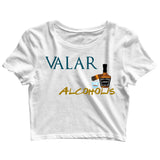 Aaramkhor Specials TV Series Funny Games of Thrones (GOT) Valar Alcoholis Custom Printed Graphic Design Crop Top T-Shirt for Women - Aaramkhor