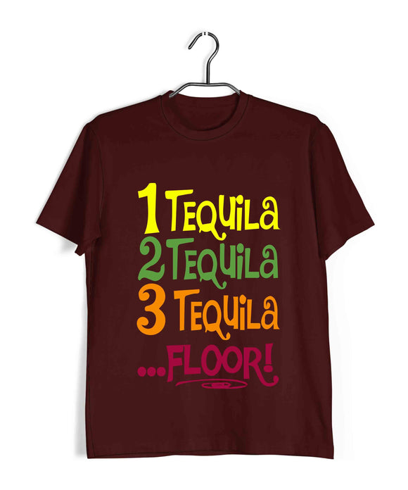 Maroon  TV Series Brooklyn-99 1 TEQUILA 2 TEQUILA 3 TEQUILA FLOOR Custom Printed Graphic Design T-Shirt for Men