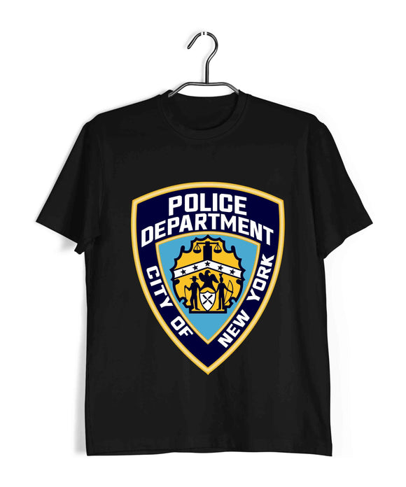 Black  TV Series Brooklyn-99 NYPD POLICE BADGE Custom Printed Graphic Design T-Shirt for Men