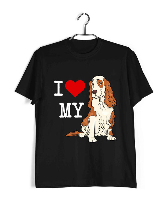 Black  Aaramkhor Specials Dogs COCKER SPANIEL Custom Printed Graphic Design T-Shirt for Men