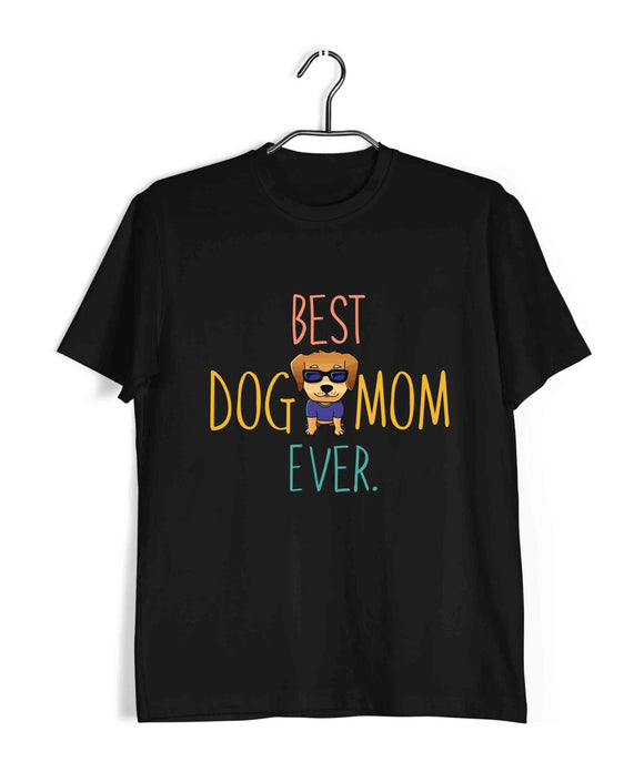 Black  Aaramkhor Specials Dogs BEST DOG MOM EVER Custom Printed Graphic Design T-Shirt for Men