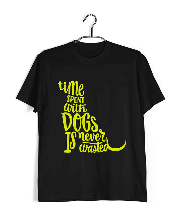Black  Aaramkhor Specials Dogs TIME SPENT WITH DOGS IS NEVER WASTED Custom Printed Graphic Design T-Shirt for Men