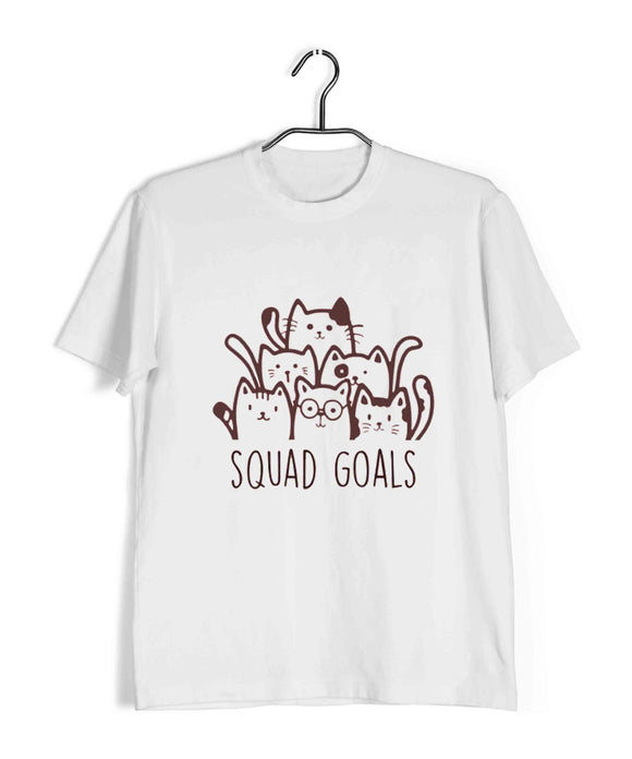 White Pets Cute Kitten Cats Squad Goals Custom Printed Graphic Design T-Shirt for Women