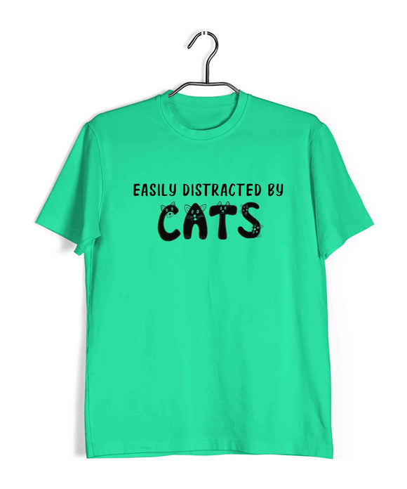 Light Green Pets Cute Kitten Cats Easily Distracted by Cats Custom Printed Graphic Design T-Shirt for Women