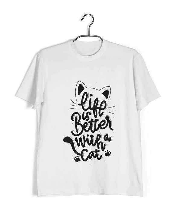 White Pets Cute Kitten Cats Life is better with cats Custom Printed Graphic Design T-Shirt for Men