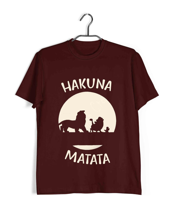 Maroon Hakuna Matata Hollywood Lion King HAKUNA MATATA Custom Printed Graphic Design T-Shirt for Men
