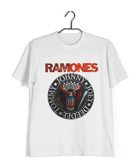 White  Music Ramones BAND GRUNGE LOGO Custom Printed Graphic Design T-Shirt for Men