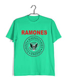 Light Green  Music Ramones BAND LOGO Custom Printed Graphic Design T-Shirt for Men