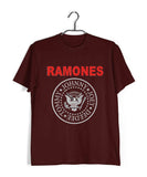 Maroon  Music Ramones BAND LOGO Custom Printed Graphic Design T-Shirt for Men