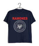 Navy Blue  Music Ramones BAND LOGO Custom Printed Graphic Design T-Shirt for Men