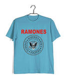 Sky Blue  Music Ramones BAND LOGO Custom Printed Graphic Design T-Shirt for Men