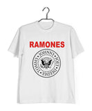 White  Music Ramones BAND LOGO Custom Printed Graphic Design T-Shirt for Men