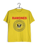 Yellow  Music Ramones BAND LOGO Custom Printed Graphic Design T-Shirt for Men
