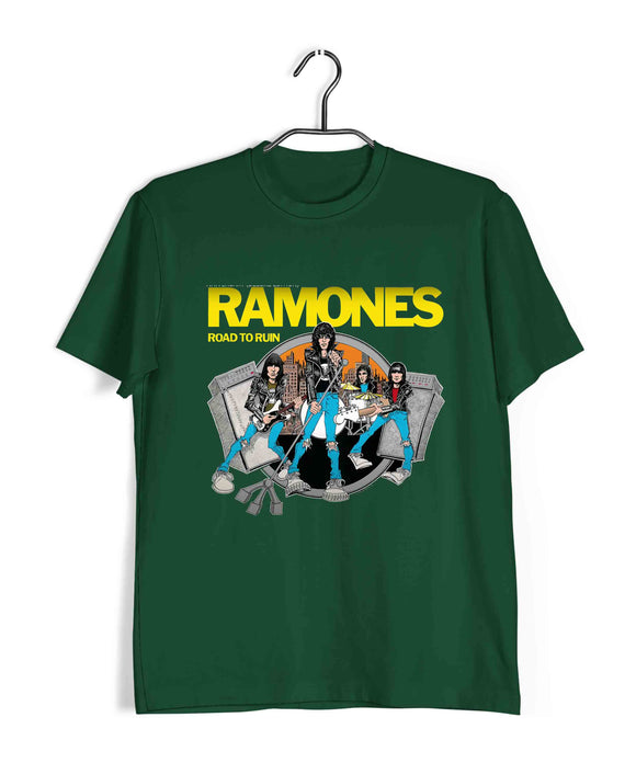 Dark Green  Music Ramones ROAD TO RUIN Custom Printed Graphic Design T-Shirt for Men