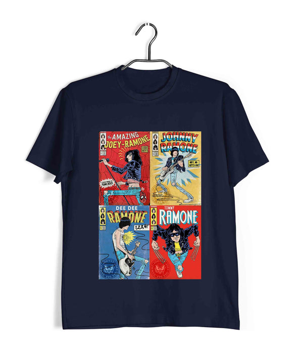 Navy Blue  Music Ramones CARTOON ARTWORK Custom Printed Graphic Design T-Shirt for Men