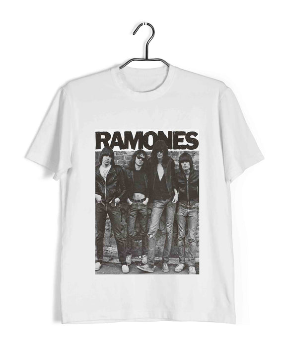 White  Music Ramones CLASSIC POSTER Custom Printed Graphic Design T-Shirt for Men