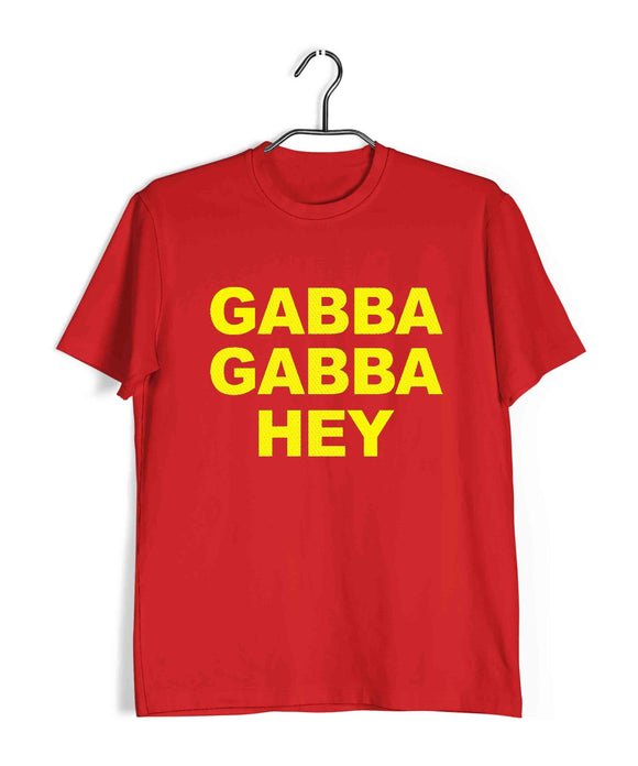 Red  Music Ramones GABBA GABBA HEY Custom Printed Graphic Design T-Shirt for Men