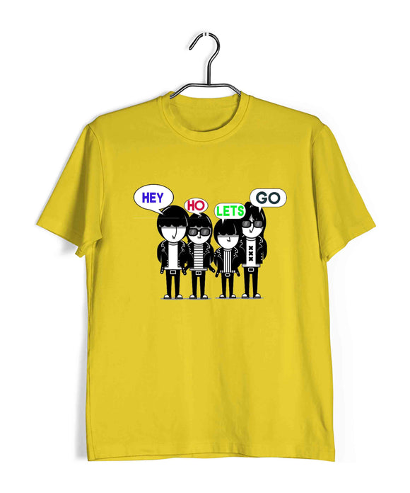 Yellow  Music Ramones HEY HO LETS GO Custom Printed Graphic Design T-Shirt for Men