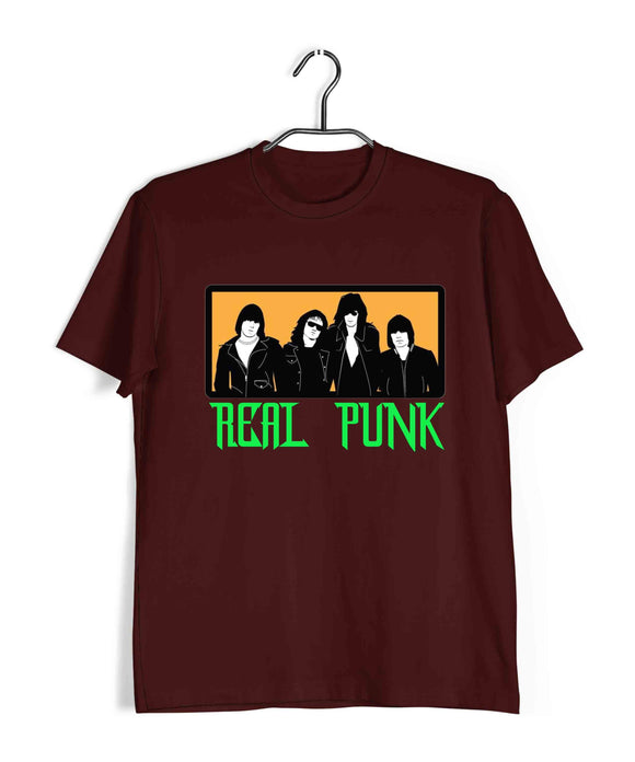 Maroon  Music Ramones REAL PUNK ROCK Custom Printed Graphic Design T-Shirt for Men