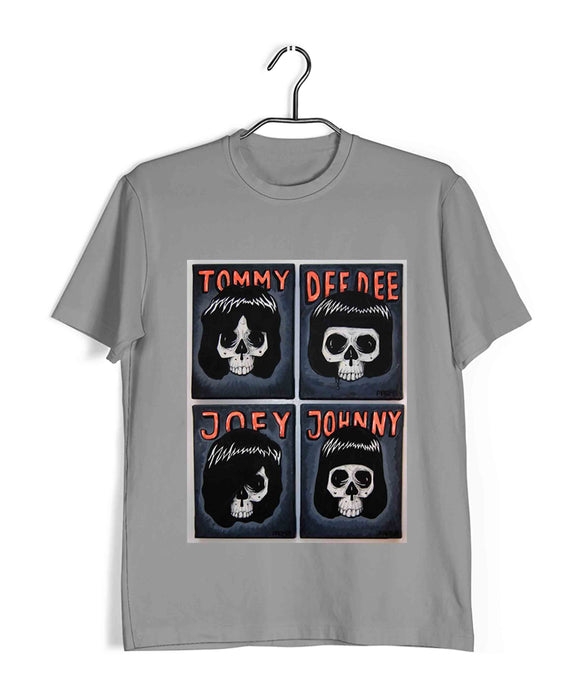Light Grey  Music Ramones Tommy DeeDee Joey Johnny Custom Printed Graphic Design T-Shirt for Men