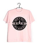 Pink  Music AC DC Rock N Roll Will Never Die Custom Printed Graphic Design T-Shirt for Men