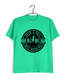 Light Green  Music AC DC Rock N Roll Will Never Die Custom Printed Graphic Design T-Shirt for Men