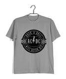 Light Grey  Music AC DC Rock N Roll Will Never Die Custom Printed Graphic Design T-Shirt for Men