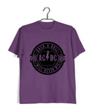 Purple  Music AC DC Rock N Roll Will Never Die Custom Printed Graphic Design T-Shirt for Men