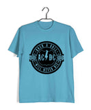 Sky Blue  Music AC DC Rock N Roll Will Never Die Custom Printed Graphic Design T-Shirt for Men