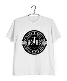 White  Music AC DC Rock N Roll Will Never Die Custom Printed Graphic Design T-Shirt for Men