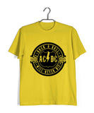 Yellow  Music AC DC Rock N Roll Will Never Die Custom Printed Graphic Design T-Shirt for Men
