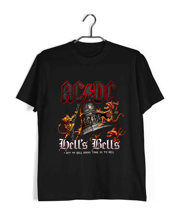 Black  Music AC DC Hell's Bells Custom Printed Graphic Design T-Shirt for Men