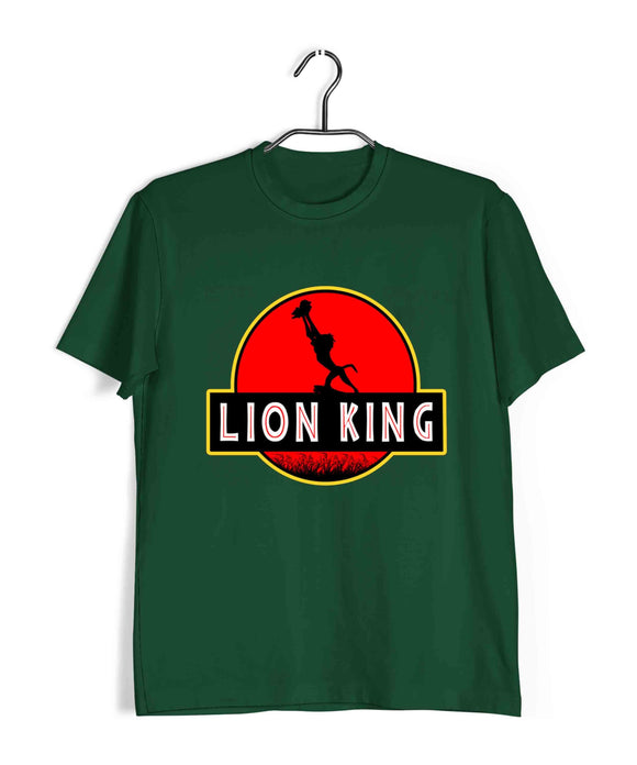 Dark Green  Hollywood Lion King LION KING JURASSIC PARK PORTRAIT Custom Printed Graphic Design T-Shirt for Men