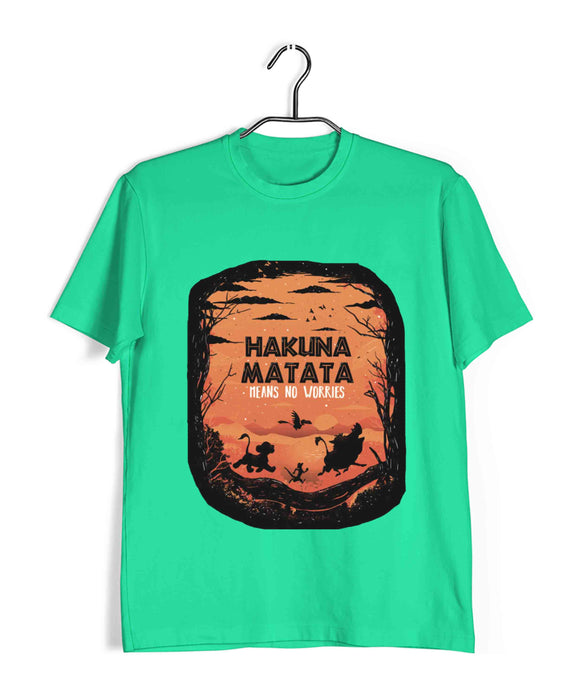 Light Green Hakuna Matata Hollywood Lion King Hakuna Matata Custom Printed Graphic Design T-Shirt for Men