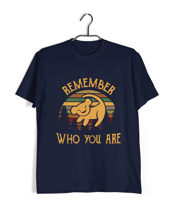 Navy Blue  Hollywood Lion King Remember Who You Are Custom Printed Graphic Design T-Shirt for Men