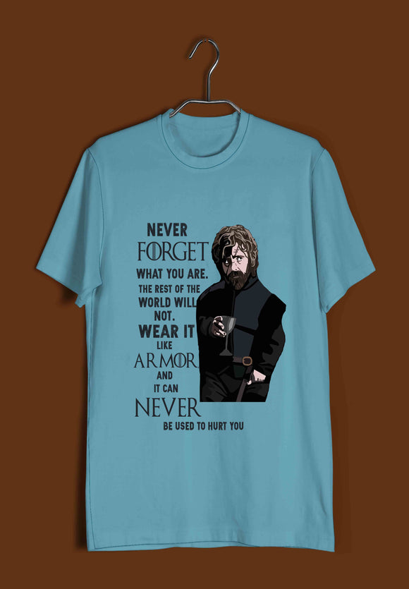 TV Series Games of Thrones (GOT) Never Forget Who You are Custom Printed Graphic Design T-Shirt for Men - Aaramkhor