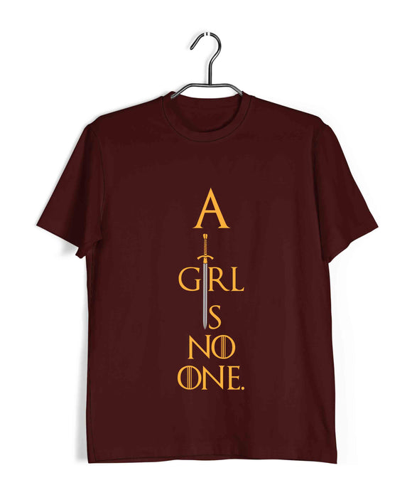 TV Series Games of Thrones (GOT) A GIRL IS NO ONE Custom Printed Graphic Design T-Shirt for Men - Aaramkhor