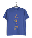 TV Series Games of Thrones (GOT) A GIRL IS NO ONE Custom Printed Graphic Design T-Shirt for Women - Aaramkhor