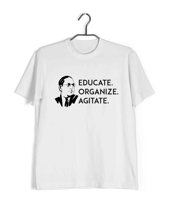 White  Politics Freedom Ambedkar Educate Organize Agitate Custom Printed Graphic Design T-Shirt for Men