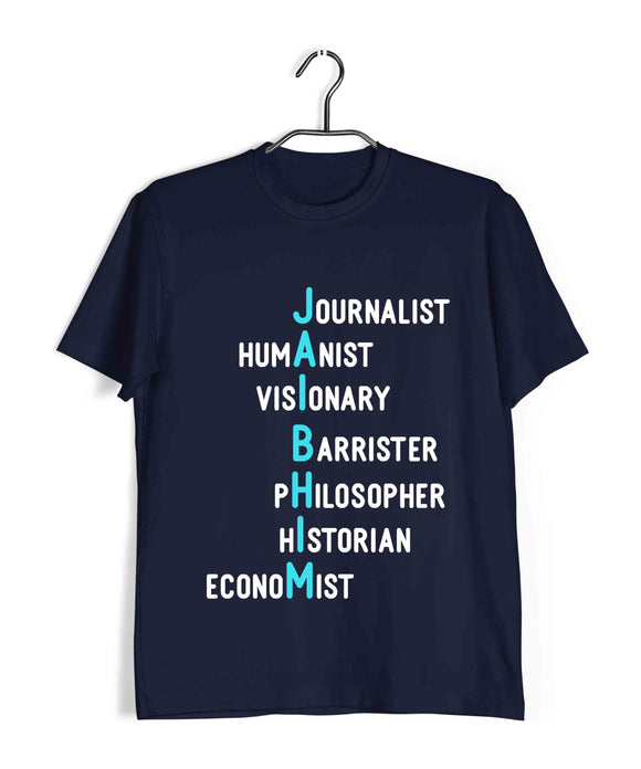 Navy Blue  Politics Freedom Ambedkar Jai Bhim Letter Art Custom Printed Graphic Design T-Shirt for Men