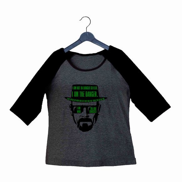 TV Series Breaking Bad Heisenberg Custom Printed Graphic Design Raglan T-Shirt for Women - Aaramkhor