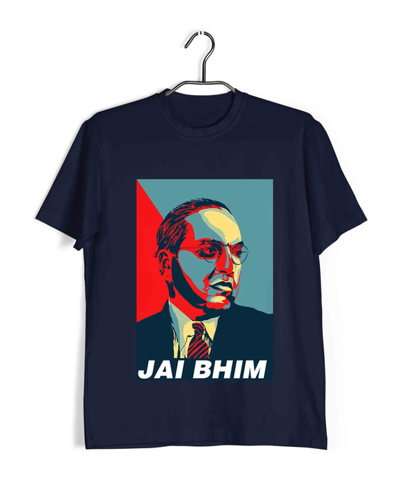 Navy Blue  Politics Freedom Ambedkar JAI BHIM CLASSIC POSTER Custom Printed Graphic Design T-Shirt for Men